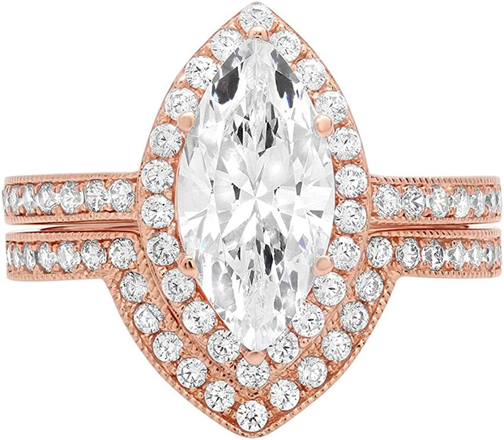 2.16ct Marquise Round Cut Pave Halo Solitaire with Accent Genuine Moissanite & Simulated Diamond Engagement Promise Statement Anniversary Bridal Wedding Ring Band set Solid 14k Rose Gold