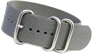 18mm Grey Ballistic Nylon NATO Watch Band with 3 Stainless Steel Rings 10.5''/267mm