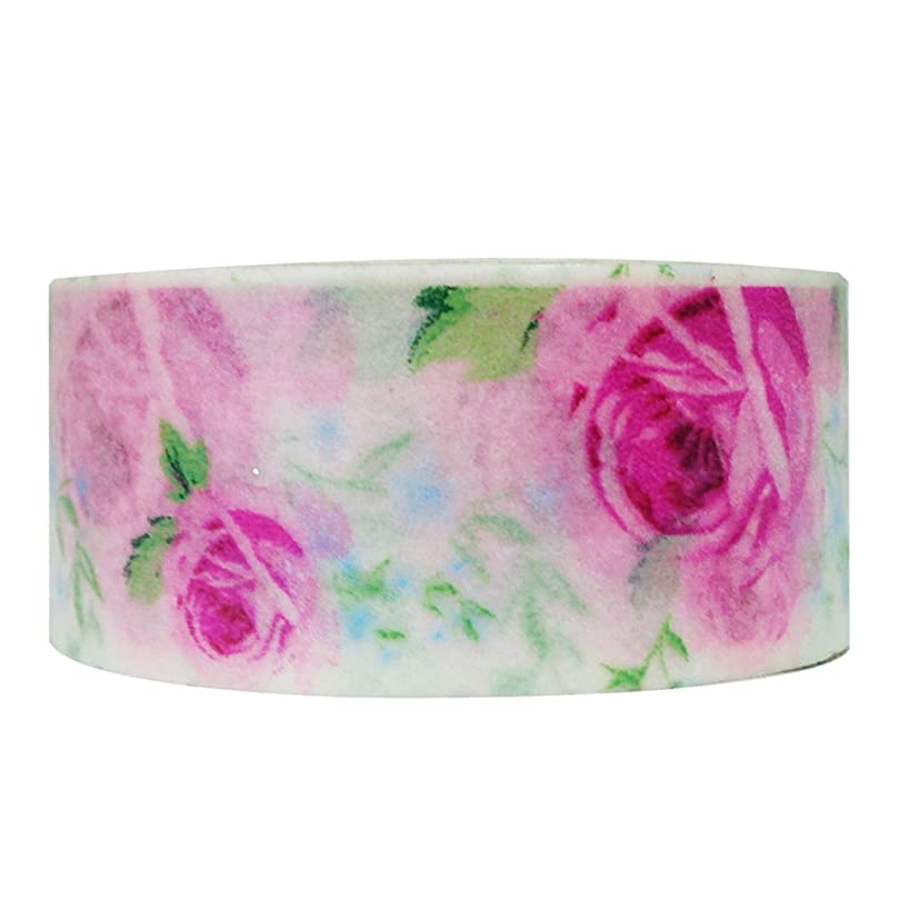 Wrapables Floral and Nature Washi Masking Tape, Sweet Rose