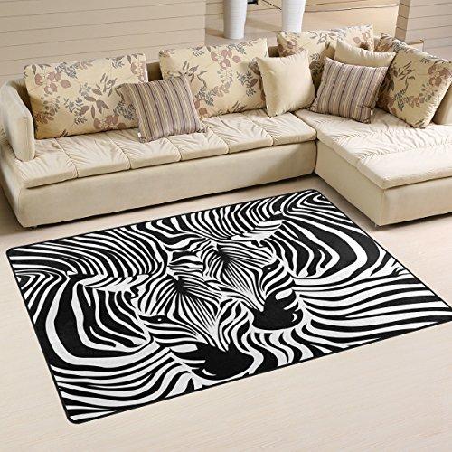 Use7 Tapis antidérapant en peau de zèbre pour salon, chambre à coucher 100 x 150 cm