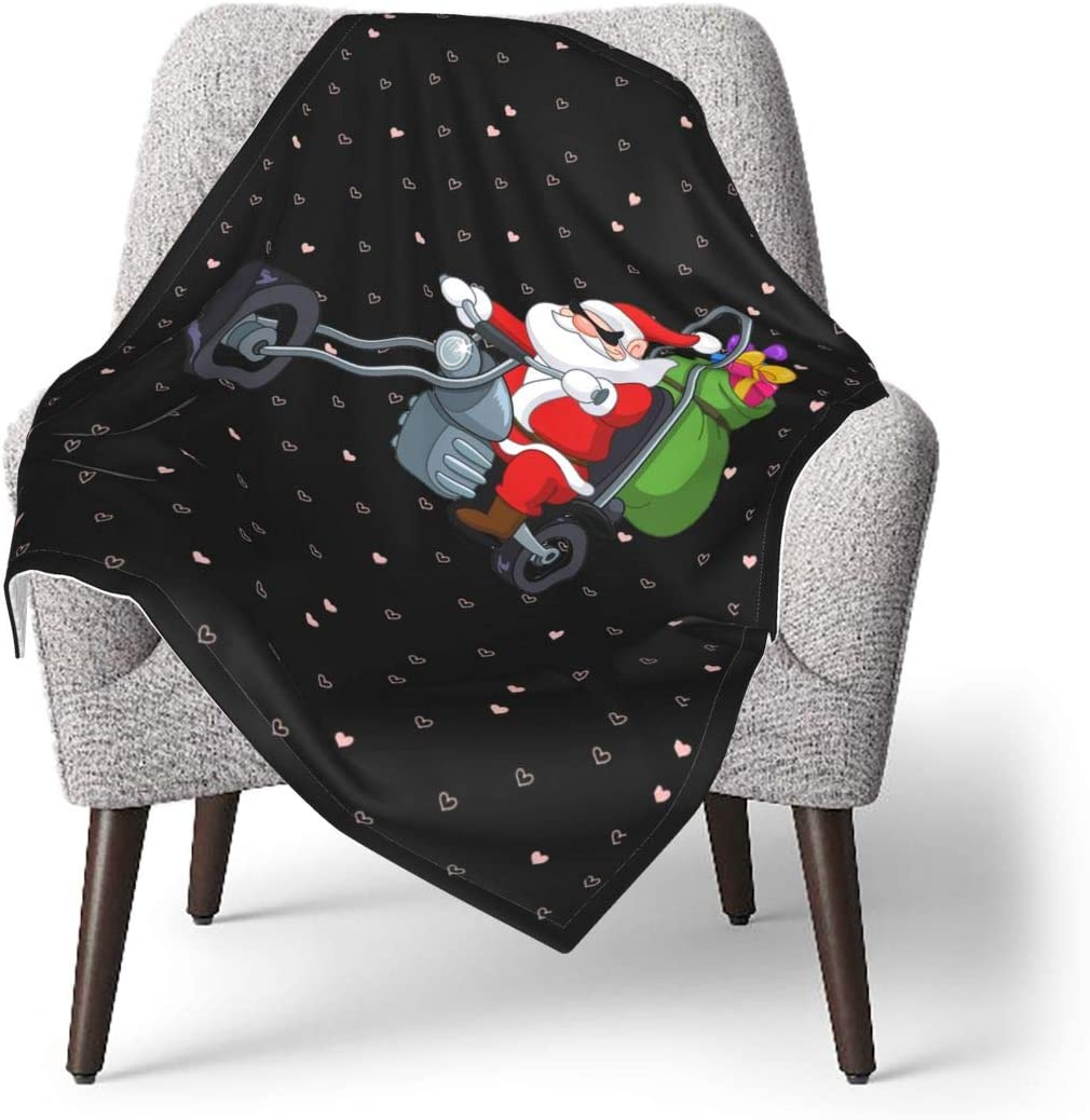 YUERF Santa with Motorcycle Soft Warm Gift Blanket Throw Max 44% OFF Baby f Milwaukee Mall