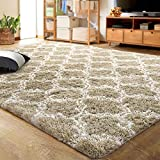 LOCHAS Luxury Velvet Shag Area Rug Mordern Indoor Plush Fluffy Rugs, Extra Soft and Comfy Carpet, Geometric Moroccan Rugs for Bedroom Living Room Girls Kids Nursery, 4x6 Feet Beige/White