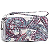 Double Zipper Long Clutch Wallet Cellphone Wallet for Women with Removable Wristlet Strap for Card, Cash, Coin, Bill (Water Drop Flower Pattern)