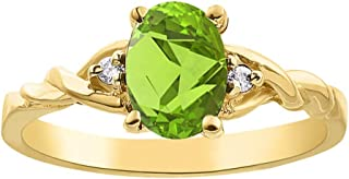 RYLOS Ladies Ring with Oval Shape Gemstone & Genuine Sparkling Diamonds in 14K Yellow Gold Plated Silver .925-7X5MM Aquamarine, Blue Topaz, Garnet, Peridot Color Stone