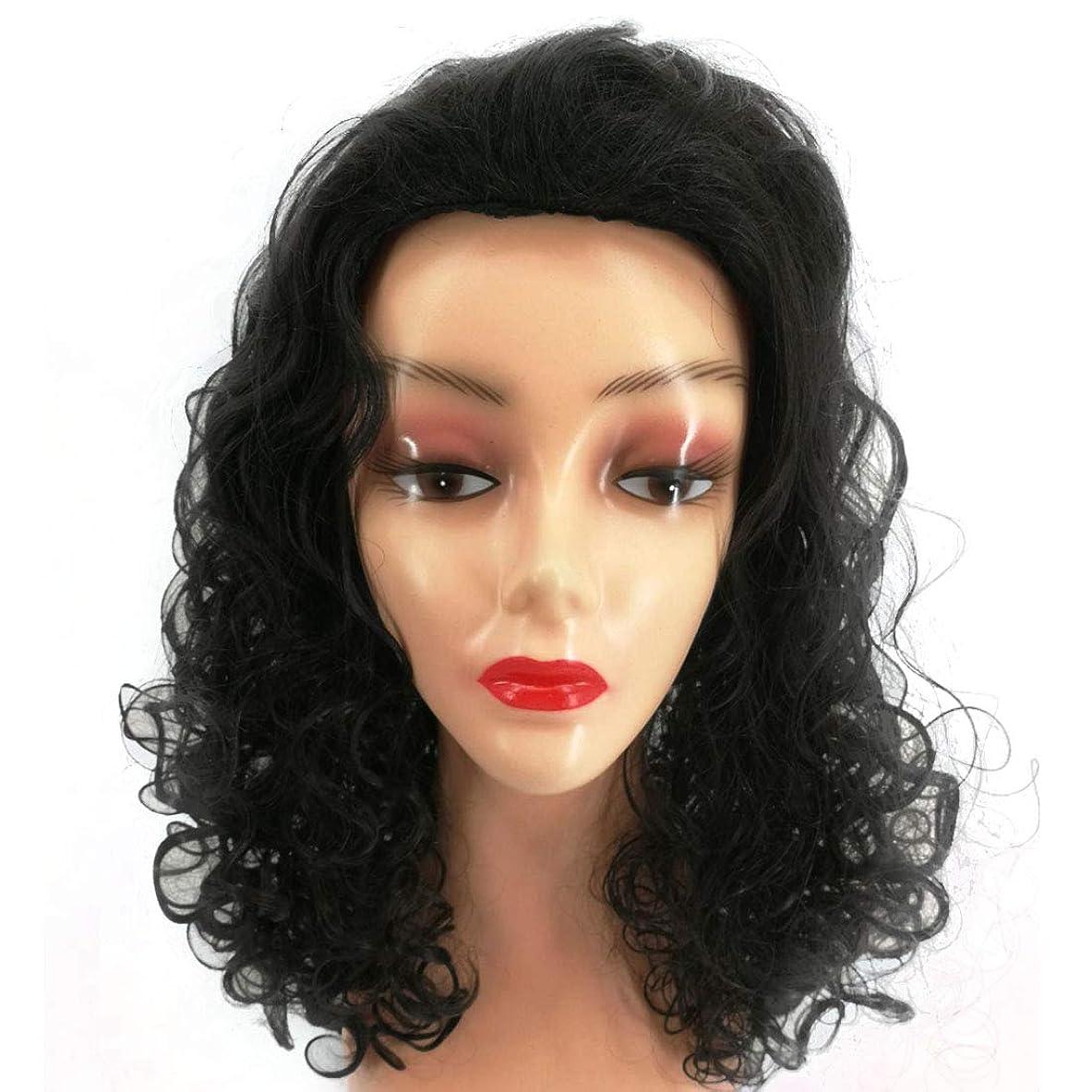 布違反するぼんやりしたKoloeplf 45cmロングビッグウェーブカーリーウィッグ女性用ナチュラルカラーラリスティックブラックウィッグミックスバングウィッグふわふわウィッグ (Color : ブラック)