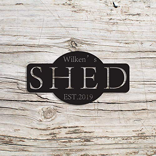 No brands 14' Metal Wall Decor Hanging Indoor Outdoor Personalized Shed Sign, Workshop Decor, Custom Garage sign, Gift for Him, Mancave, for Him, Shed Decor