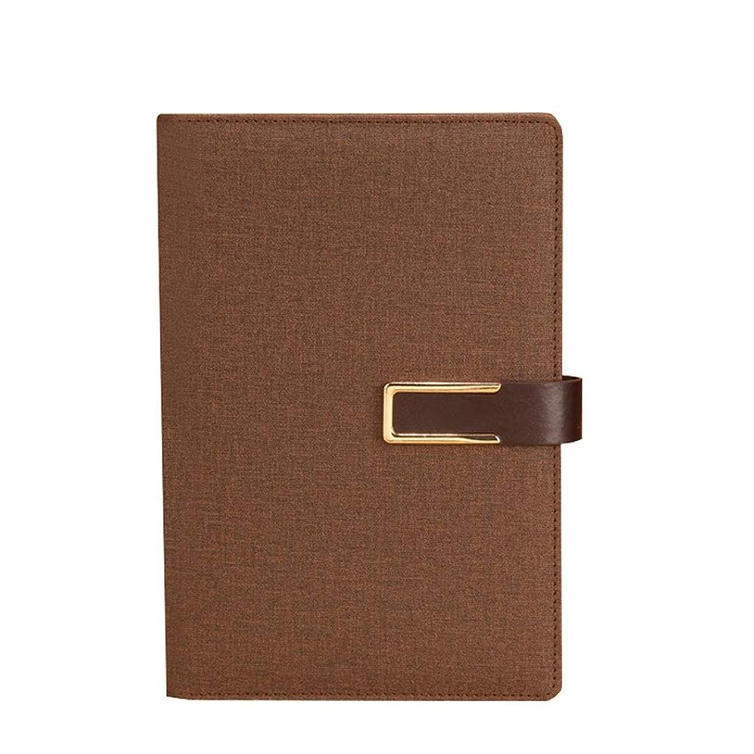 溝自分を引き上げるその他ノートを厚くする A5ビジネスノート作業日記ハード面会記録帳を厚くするバックルノートブック文房具 (Color : Brown, サイズ : 15*22cm)