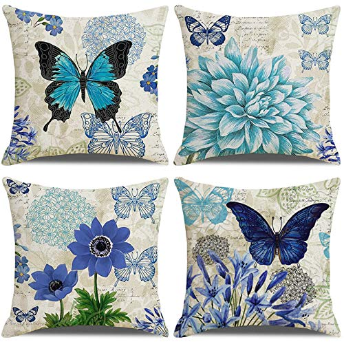LAXEUYO Juego de 4 Cojin Fundas 45x45 cm, Mariposa Flor Azul Algodón Lino Decorativa Hogar Almohadas Fundas para Sofá Cama Decoración para Hogar