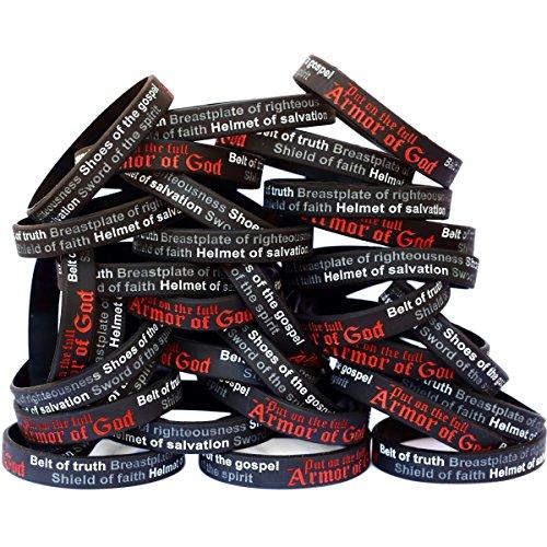 SayitBands 50 Armor of God Wristband Bracelets Ephesians 6:10-18