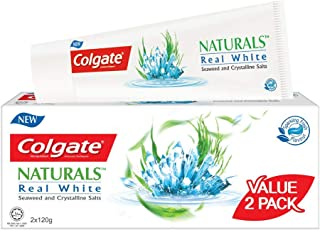 Colgate Naturals Real White Toothpaste, Seaweed and Crystalline Salts, 120g (Pack of 2)