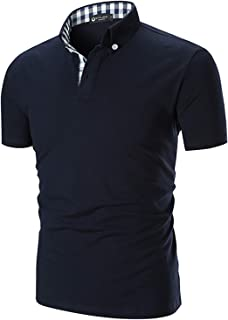 STTLZMC Men's Short Sleeve Polo Shirts Casual Fit Golf Solid Color Tops