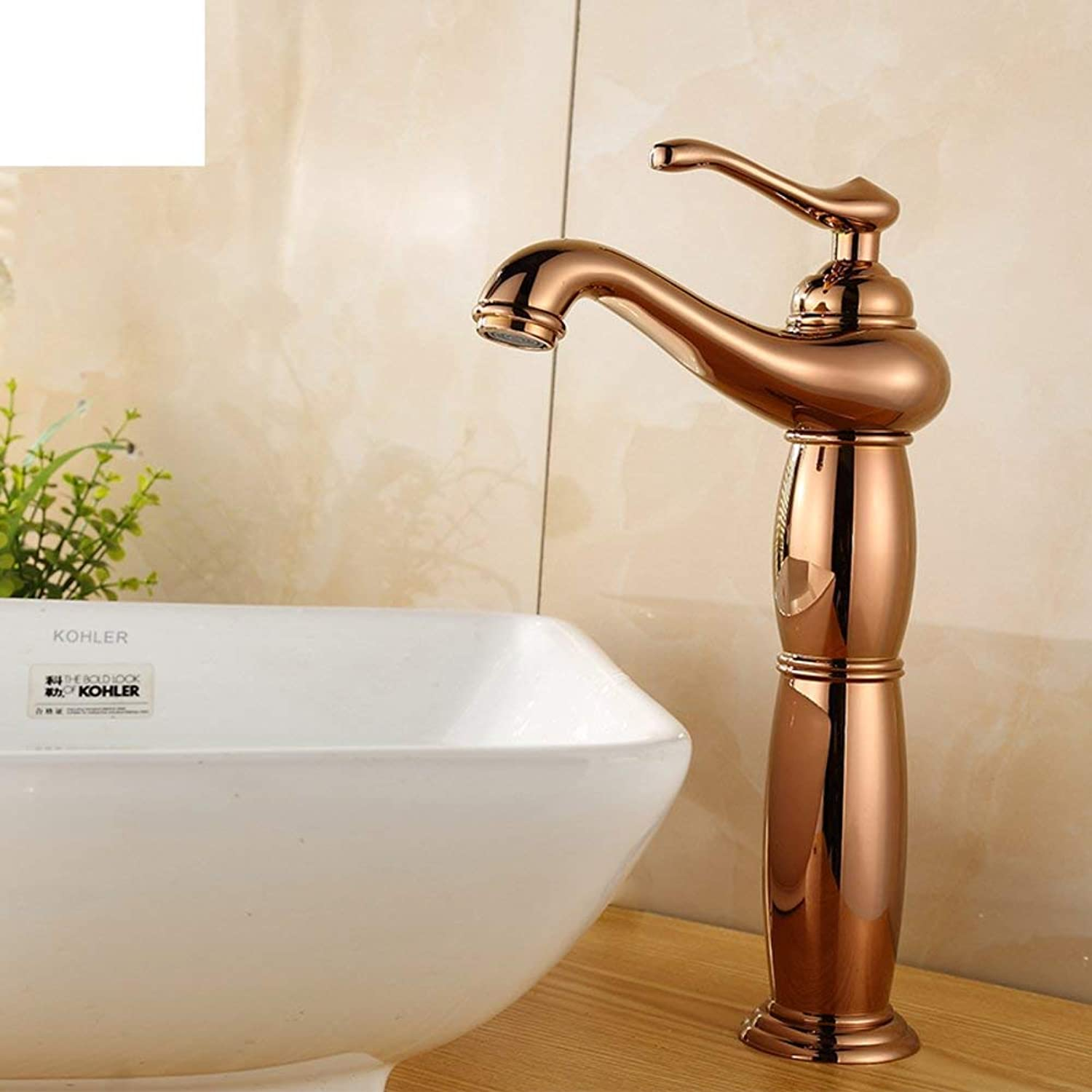 Oudan European antique copper faucet full pink gold Full copper basin mixer Antique basin faucet on stage (color   -, Size   -)