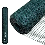 VOUNOT Grillage a Poule en PVC gaine vert 1x25m Maille 13mm hexagonal Triple torsion Clôture Résistant Poulailler Jardin Grillage Pour Élevage Volaille, Filet résistant aux Intempéries