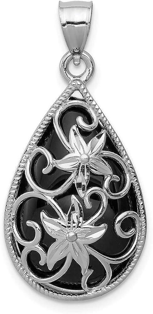 Charm Pendant White Max 84% OFF Bargain Sterling Silver Black Rhodium-Plated Onyx Di