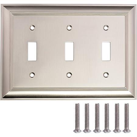Amazon Basics Triple Toggle Light Switch Wall Plate Satin Nickel 1 Pack