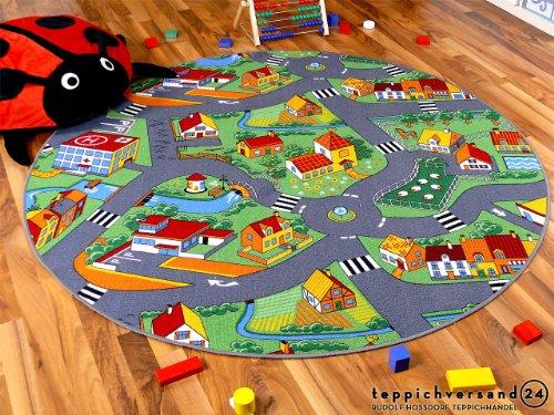 Snapstyle Kinder Spiel Teppich Little Village Grün Rund in 7 Größen
