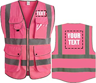High Visibility Reflective Safety Vest Class 2 ANSI Custom Your Text Protective Workwear 5 Pockets With Reflective Strips Outdoor Work Vest (Rose Red S)
