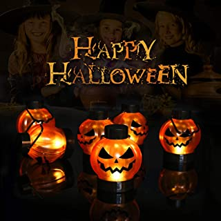 Cute Halloween Tree Ornaments Pumpkin Lights Decorations,Flameless Battery Operated LED Tea Light Candles, 6 Pack Lanterns,Perfect for Home Halloween Thanksgiving Table Décor
