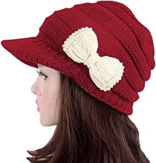 RARITYUS Women Knitted Warm Winter Hat Wide Brim Slouchy Beret Visor Cap with Pearls Bow