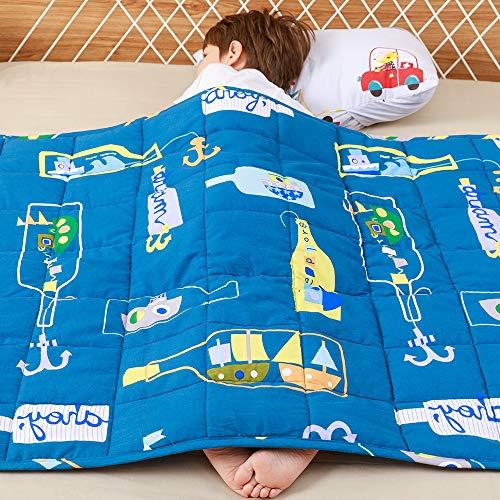 Anjee Kinder-Gewichtsdecke, 100% natürliche Baumwolle, Schwere Decke für Kinder, Sensorisch beruhigend für tollen Schlaf, 3kg 100x150cm, Ocean Dream