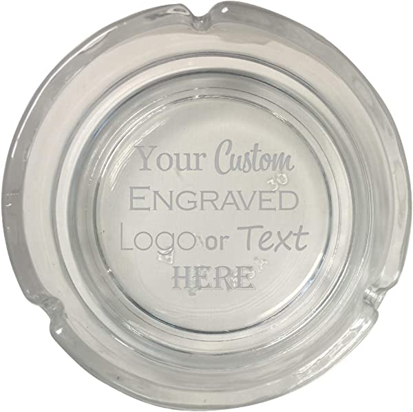 Hat Shark Custom Personalized 3D Laser Engraved Round Glass Ash Tray With Your Text Or Personal Logo Wedding Anniversary Birthday Gift