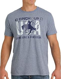 Cinch Men's Grey Flag Logo Graphic Short Sleeve T-Shirt