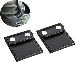 Xbes 2 Pack Car Seatbelt Adjuster, Comfort Seat Belt Covers, PU Leather, Auto Shoulder Neck Protector Strap Positioner Locking Clip Safety Covers (Black)