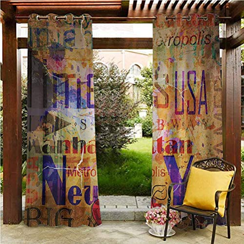 New York Pergola Outdoor Drapes Balcony, Deck Curtains Grunge Style Complex Artsy Montage NYC Letters on Magazine Cover Popular Brooklyn Multicolor 108' W by 84' L(K274cm x G213cm)