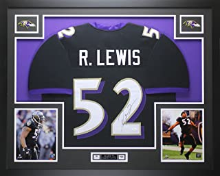 Ray Lewis Autographed Black Ravens Jersey - Beautifully Matted and Framed - Hand Signed By Ray Lewis and Certified Authentic by JSA COA - Includes Certificate of Authenticity