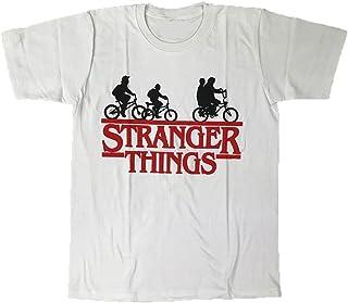 【並行輸入品】STRANGER THINGS/ストレンジャー・シングス テレビドラマ タイトルロゴ プリントTシャツ ホワイト S・M・L 男女兼用 ~Lサイズは短めワンピースとしても人気~
