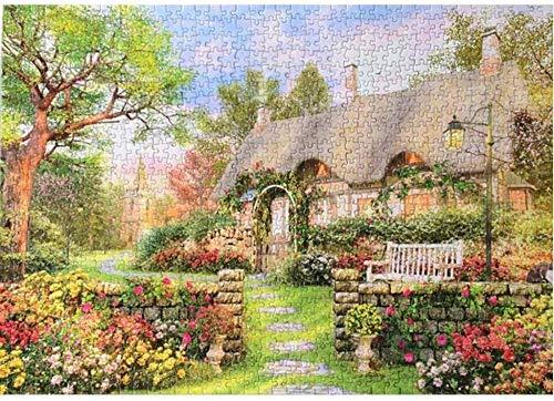 Jiedoud Wooden lustige Puzzlespiele Gartenhaus Blumen Bäume für Jugendliche und Erwachsene Einzigartige Heimdekorationen und s 1000 Stück