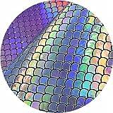 Bigsweety Mermaid Skalen Patch Fisch Printed Faux Vinyl Leder Kunstleder Blätter Stoff DIY...