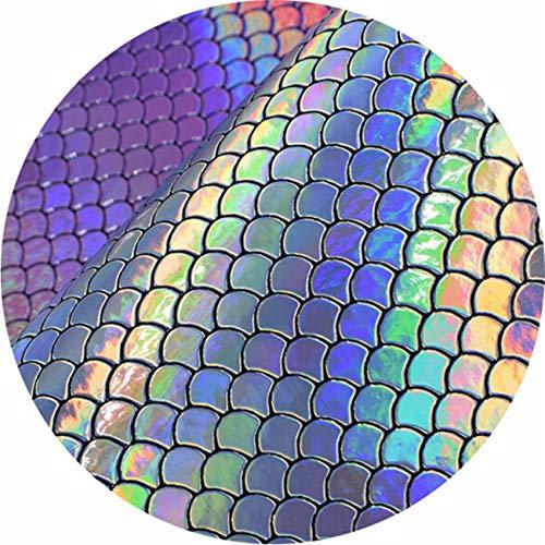 Bigsweety Mermaid Skalen Patch Fisch Printed Faux Vinyl Leder Kunstleder Blätter Stoff DIY Handgemachte Handwerk