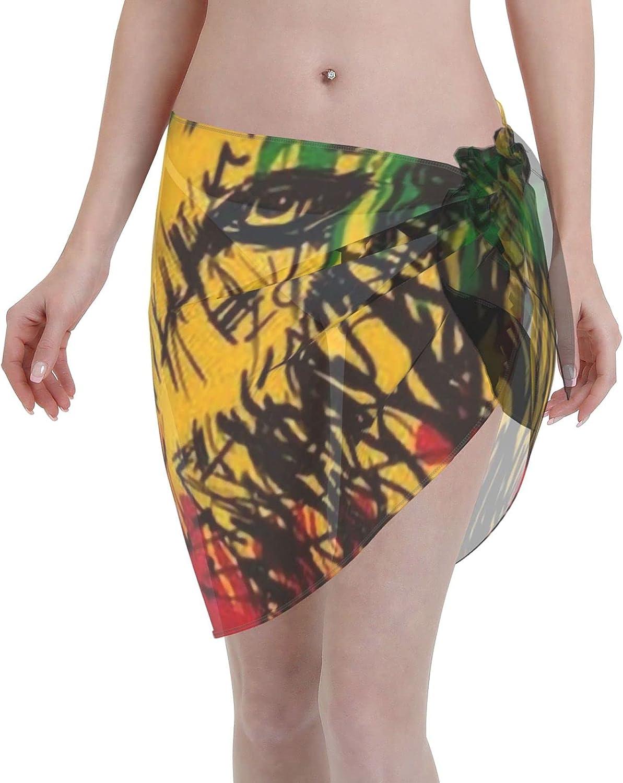 Rasta-Lion Women Short Sarongs Beach Wrap, Beach Cover-Ups High Waisted Wrap Skirt with Slit,Sexy Sheer Swimsuit Bikini Wraps Chiffon,Soft Scarf for Swimwear Black