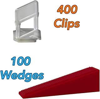 [Pack of 500] Premium Tile Leveling System Set of 400 Clips and 100 Wedges 1/8 Inch. CLW-410 Anti Lippage Effortless Way to Lock in Your Large and Heavy Tiles. Get Professional Results Every Time.