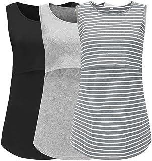 39431f7a2b289 CareGabi Womens Maternity Loose Comfy Nursing Tunic Sleeveless Maternity  Nursing Cami Tank Tops Breastfeeding Clothes