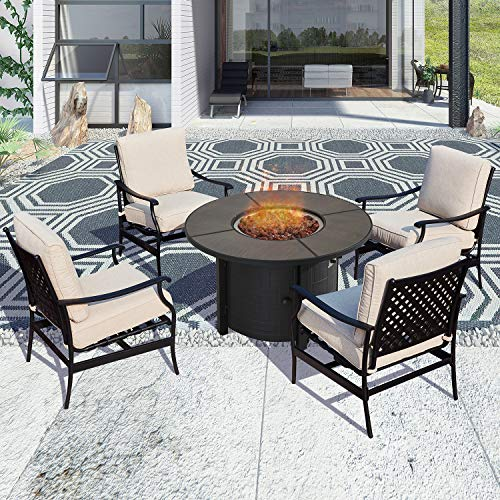PatioFestival Patio Conversation Set Outdoor Furniture Sets CSA Certification 50,000 BTU 41.7 Inch Round Propane Fire Pit Table with Rocking Chairs (5 Pcs,Beige)