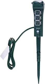 ZESEN Outdoor Multi Socket Timer Yard Stake with Photocell Countdown Timer, 6 Grounded Outlets - Touch Sensor, 6ft Cord, Waterproof, Green