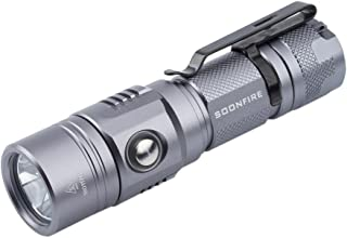 1000 Lumen Cree XP-L LED Rechargeable Flashlight An Effective Range of 255 M,Soonfire E11 USB Rechargeable Waterproof Bright Flashlight with type 18650 3400mAh rechargeable Li-ion battery (Grey)