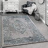 Paco Home Alfombra Diseño Moderna Salón Alfombras 3D Estampado Barroco Gris Turquesa Crema, tamaño:160x230 cm