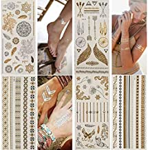 Temporary Tattoos,Metallic,5 Large Sheets Gold Silver Glitter, by WffDirect,80+ Color Flash Fake Waterproof Tattoo Sticker...