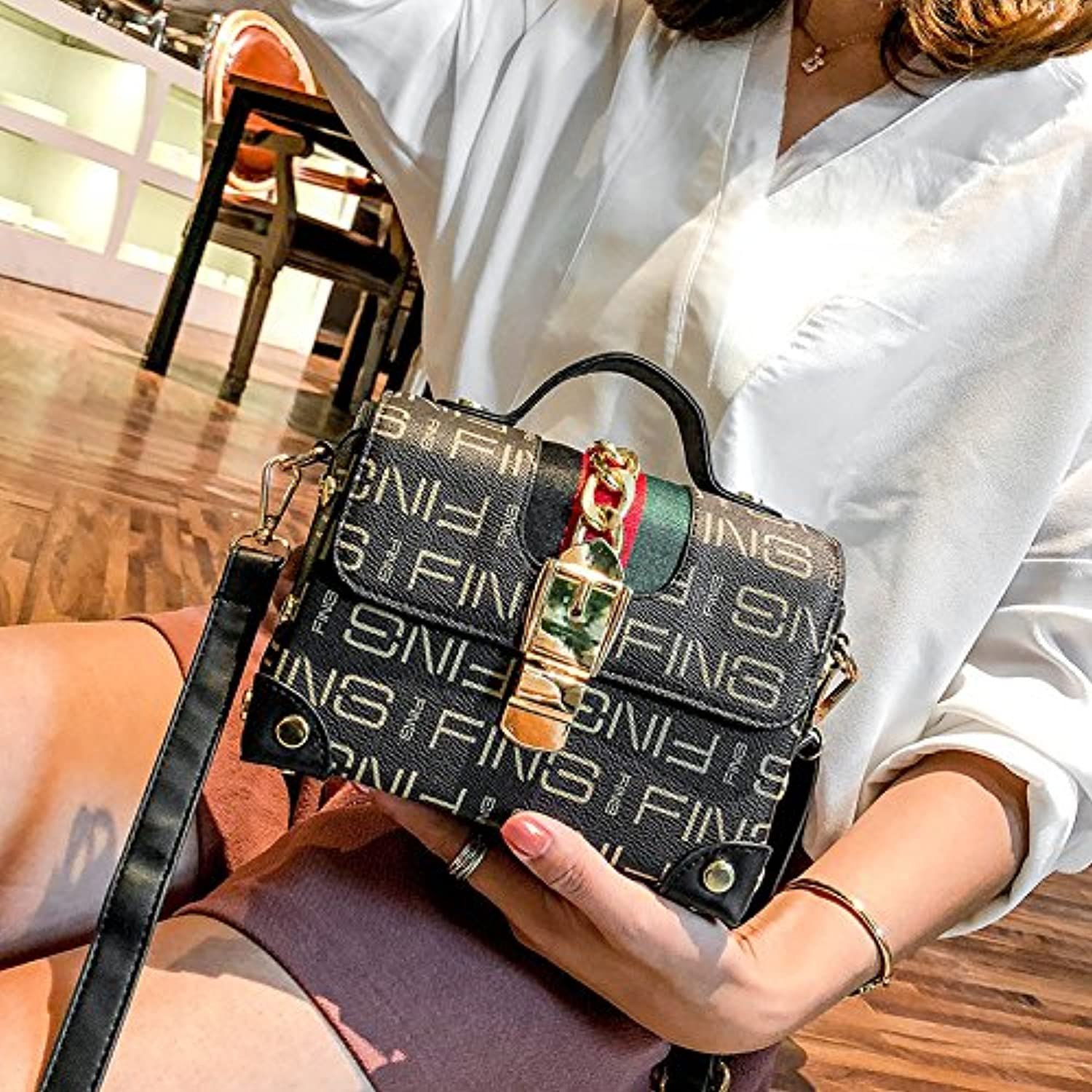 GAOXIA Small Packets of New Small Party Bag Tote Lady Case Rivets Small Case Stamp Single Shoulder Bag Diagonal Package Lock Collision color Package