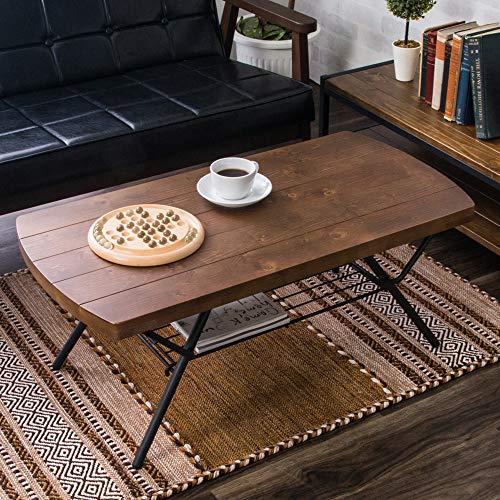 アイリスプラザ テーブル 折りたたみ ローテーブル 棚付き 収納 コンパクト ヴィンテージ 幅90×奥行45×高さ36.5cm ブラウン BRTHOTBL