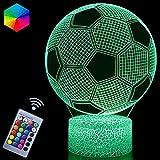 Fußball 3D Nachtlicht, Fußball Spielzeug für Jungen, 3D Illusion Lampe mit 16 Farben Ändern und Fernbedienung, Spaß Herren Gadget Geschenkideen, Geschenk für Kinder Mädchen Jungen