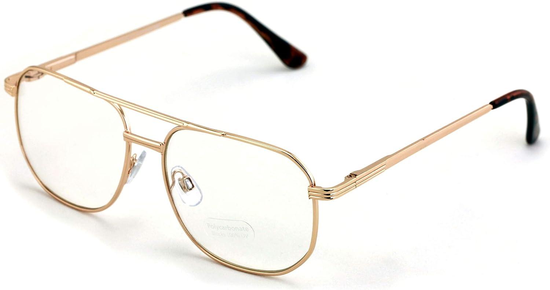 Metal Tear Drop Clear Len Glasses - Big Lens Spring Hinge Square Fashion Gold Gunmetal