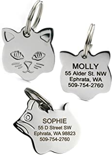 GoTags Stainless Steel Cat ID Tags, Available in Mouse and Cat Shapes, Includes up to 4 Lines of Custom Engraved Personalized Text