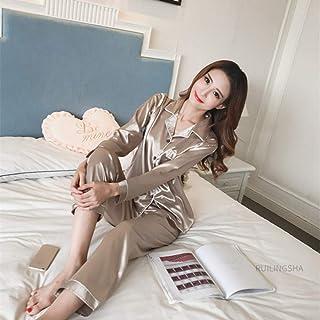 KTUCN Summer Silk Thin Pajama Sets, Nightwear Pajamas Girl Men Fashion Lover Sleep Wear,Silver,M