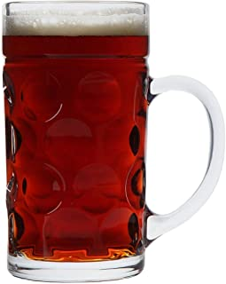 Lily's Home Heavy Duty Oktoberfest Style Dimpled Glass Beer Stein, Great for Restaurants, Beer Gardens and Parties, Ideal Father's Day Gift, Mass Krug Size (1 Liter Capacity, Single Stein)
