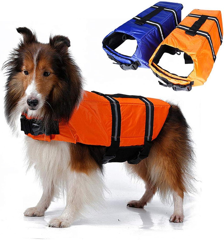 Dog Life Jacket,Pet Life Vest Saver for Swimming Boating Dog Floatation Life Preserver Coat Safety Reflective Swimwear with Head Support Size Adjustable,bluee,S
