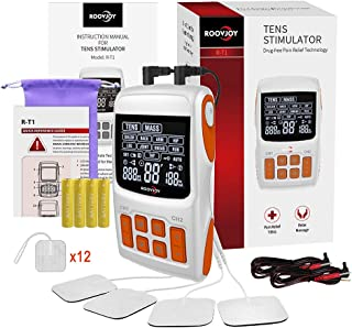 ROOVJOY TENS Unit EMS Muscle Stimulator Combo Dual Channels with Tens Electrodes Tens Machine